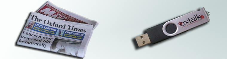 Oxtalk USB stick and local newspapers